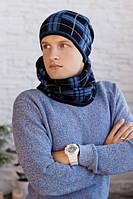 Мужской комплект «Чез» (шапка на флисе + шарф-хомут) Джинсовый
