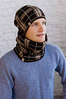 Мужской комплект «Чез» (шапка на флисе + шарф-хомут) Коричневый