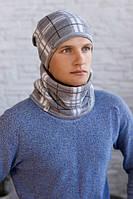 Мужской комплект «Чез» (шапка на флисе + шарф-хомут) Светло-серый