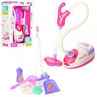 Набор для уборки детский игрушечный A5999 пылесос, совок, щетка, звук, свет, на бат-ке.