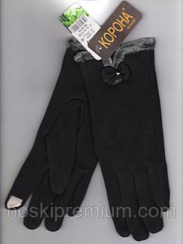 Перчатки женские 100% хлопок с бамбуком на меху Tech Touch Корона, для смартфонов, чёрные, 721611