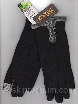 Перчатки женские 100% хлопок с бамбуком на меху Tech Touch Корона, для смартфонов, чёрные, 721612