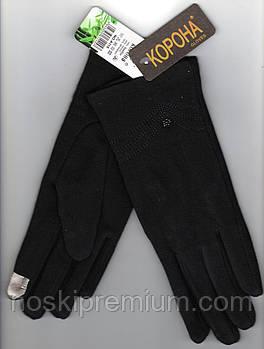 Перчатки женские 100% хлопок с бамбуком на меху Tech Touch Корона, для смартфонов, чёрные, 721614