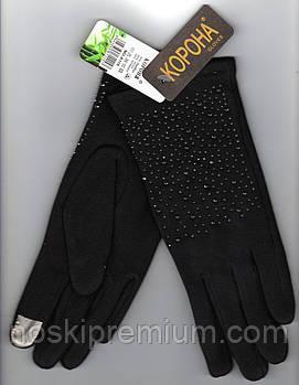 Перчатки женские 100% хлопок с бамбуком на меху Tech Touch Корона, для смартфонов, чёрные, 721615