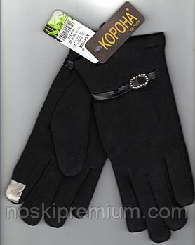 Перчатки женские 100% хлопок с бамбуком на меху Tech Touch Корона, для смартфонов, чёрные, 721616