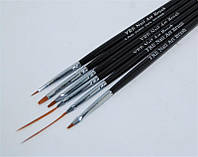 Набор кистей для дизайна ногтей YRE B-44, чёрная ручка, цена за 6 шт, кисть для росписи ногтей, кисть для моделирования, кисть для дизайна