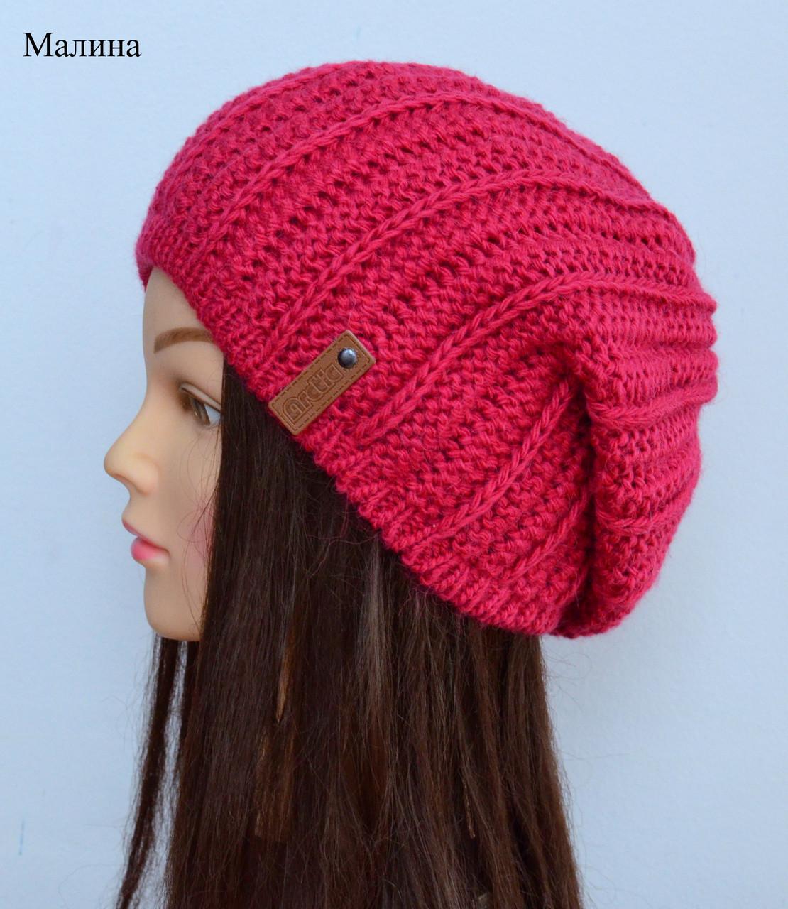 Вязаная зимняя шапка женская