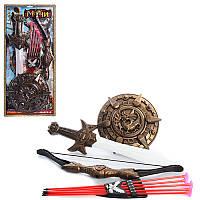 Детский игрушечный набор рыцаря 538-C3, лук 52см, щит 25см, меч 55см, стрелы 5шт, колчан, на листе,