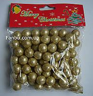 Новогодний декор-золотые шарики из пенопласта