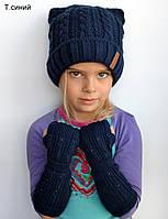 Вязаная детская шапка с ушками на зиму, фото 1
