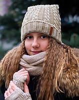 Зимняя шапка с ушками для девочки, фото 1