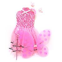 """Костюм карнавальный """"Бабочка прозрачная""""- платье, крылья, ободок, жезл"""