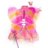 """Костюм карнавальный """"Бабочка розовая""""- платье, крылья, ободок, жезл"""