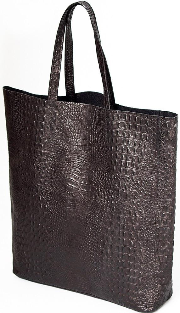 Кожаная сумка POOLPARTY City, leather-city-croco-black