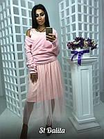 Женский костюм-кофточка и платье с сеткой, 3 цвета