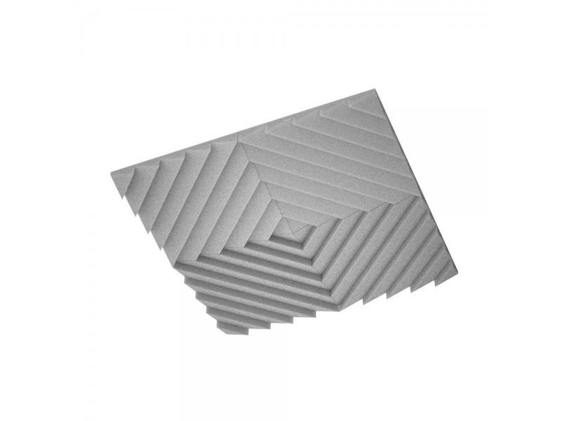 Підвісна акустична панель звукопоглинаюча Ecosound Quadro Acoustic Wave Grey. 50мм 1х1м Світло сірий