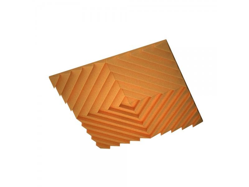 Акустическая подвесная звукопоглощающая панель Ecosound Quadro Acoustic Wave Orange. 50мм 1х1м Цвет оранжевый