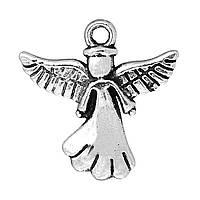 Подвески Ангел, Цинковый сплав, Античное серебро, 20 мм x 20 мм