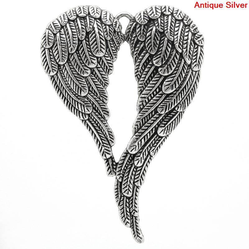 """Подвеска  """" Крылья ангела """", Цинковый сплав, Металлическая, Античное серебро, """" Сердце """", 6.9 см x 4.7 см"""