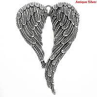 """Подвеска  """" Крылья ангела """", Цинковый сплав, Металлическая, Античное серебро, """" Сердце """", 6.9 см x 4.7 см, фото 1"""
