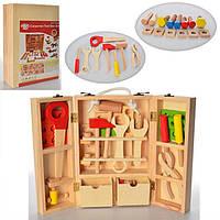 Набор строительных инструментов из дерева в коробке