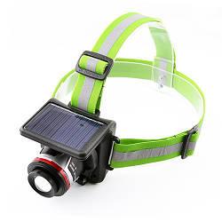Фонарь налобный Bailong BL T 855 аккумуляторный + солнечная батарея
