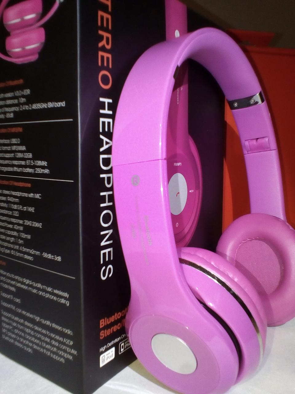 Беспроводные наушники S460 Bluetooth с MP3 плеером розовые
