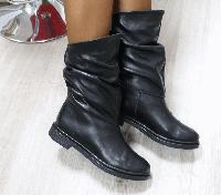 Сапоги зимние кожаные черные