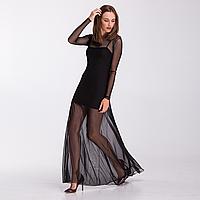 Черное платье-сетка в пол