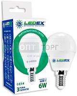 LedEx LED лампа LEDEX шарик 6W, E14, 4000К, 570lm, 160?, чип: Epistar (Тайвань)