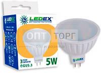 LedEx LED лампа LEDEX MR16  5W, 3000К, 475lm, 120?, 220V, чип: Epistar (Тайвань)