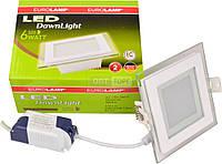 Врезной / квадрат EUROLAMP Светодиодный светильник EUROLAMP LED квадратный стекло Downlight NEW  6W 3000K (40)