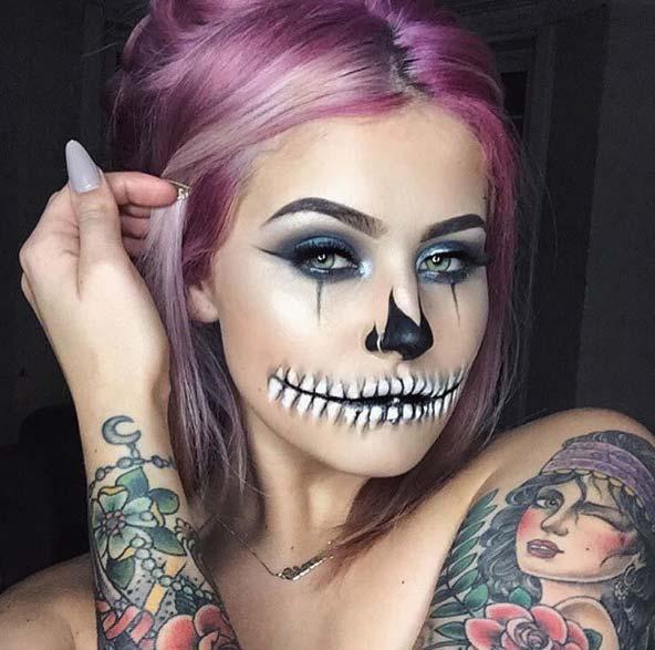 Макияж Жутко стильный скелет
