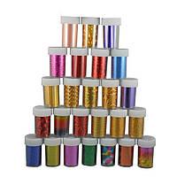 Фольга для декора ногтей YRE DFB-00-00, в баночке цветная, цена за 1 шт, фольга для дизайна ногтей, фольга для литья, фольга для ногтей