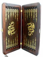 Подарок нарды Золотой Дракон из натурального дерева с отделкой натуральной кожей