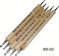 Дотс для росписи ногтей YRE ND-02, деревянная ручка, в наборе 5 шт, Дотс для рисования, дотс для китайской росписи, дотс для дизайна ногтей