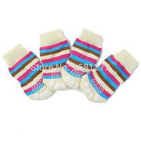 Носочки для собак мелких пород Полоска набор 4 шт.