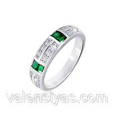 Серебряное кольцо  с зелеными камнями К2ФИ/308