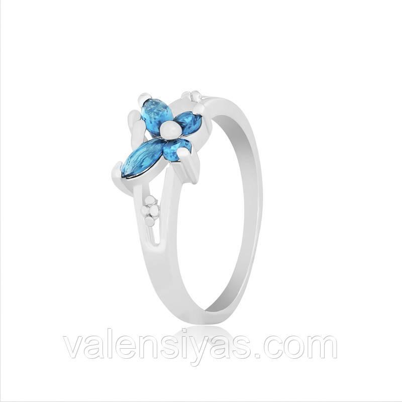 Кольцо серебряное с голубыми камнями К2ФЛТ/333