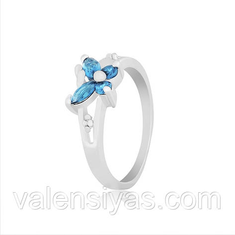 Кольцо серебряное с голубыми камнями К2ФЛТ/333, фото 2