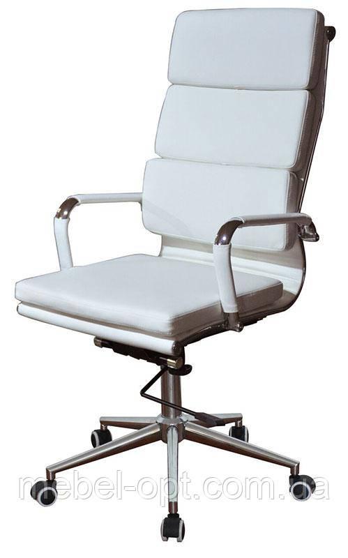 Офисное кресло Solano 2 artlеathеr white реплика дизайнерского кресла Eames Style HB Ribbed Office Chair EA