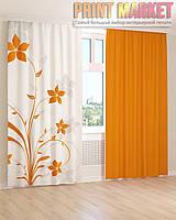 Фото шторы оранжевые цветы 3D