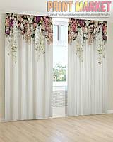 Фото шторы цветы на белом фоне