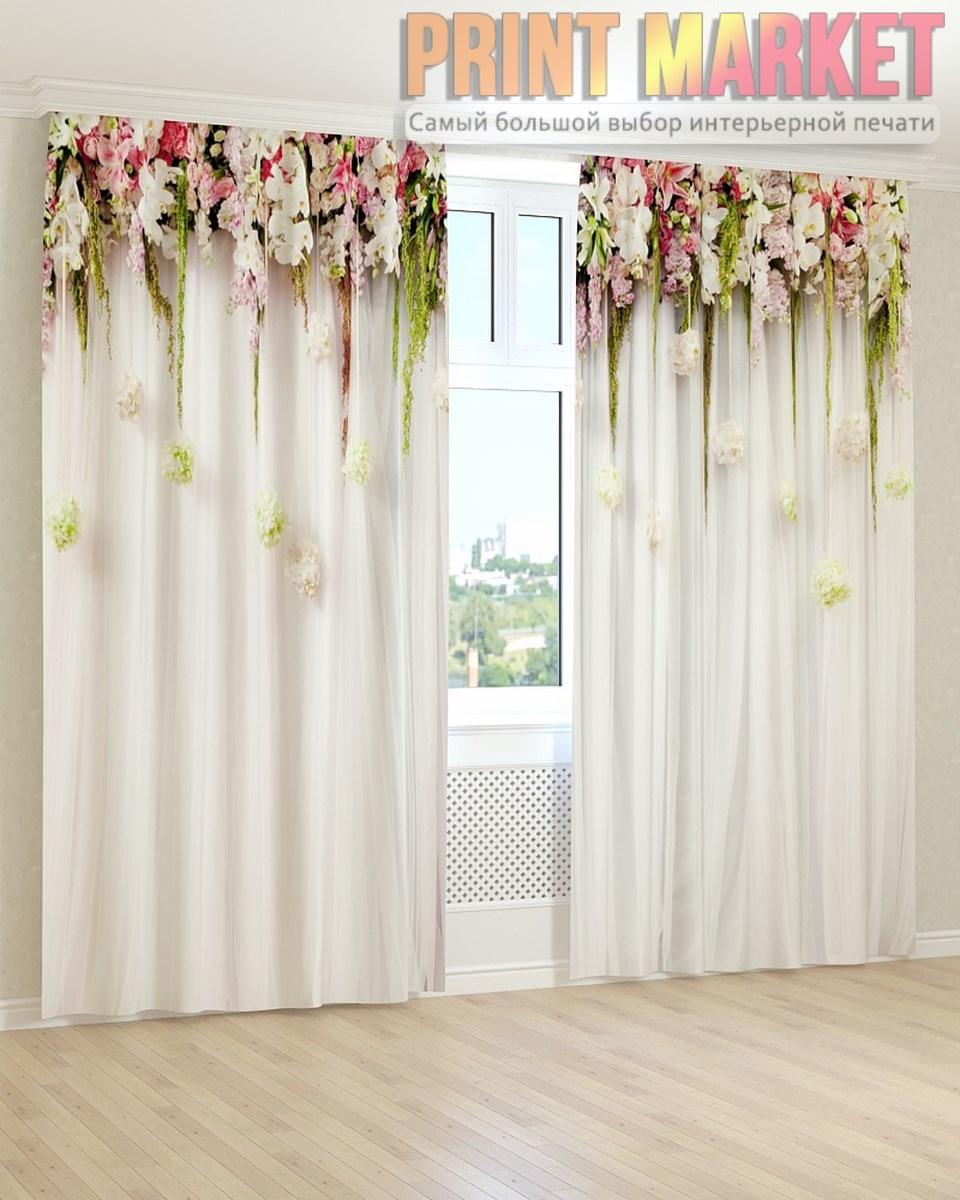 Фото шторы белые и розовые цветы