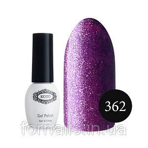 Гель-лак Koto №362 (5 мл,фиолетово-розовый с мелкими розовыми блестками)