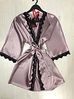 Домашний халат атлас с кружевом, одежда для дома., фото 1