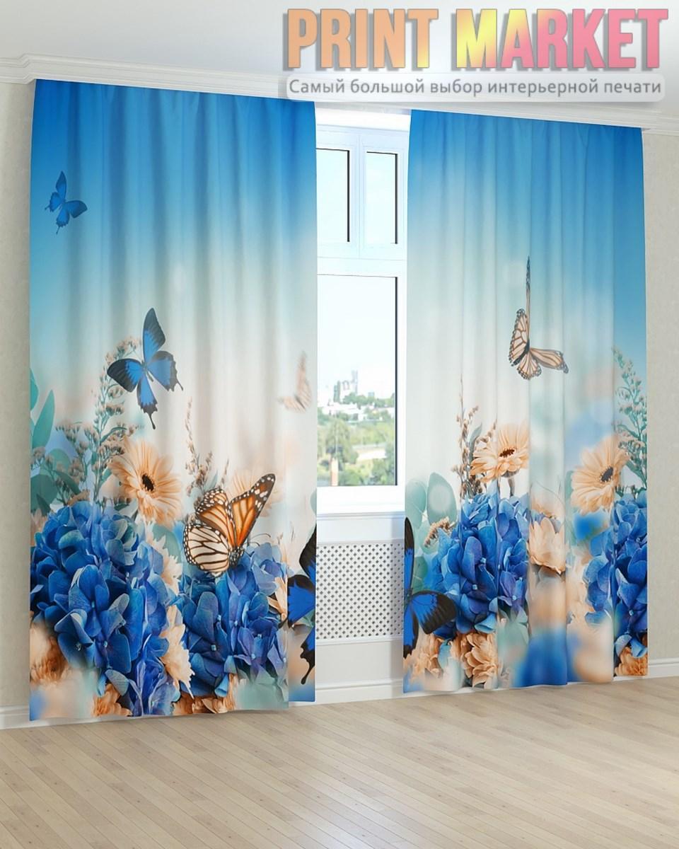 Фото шторы бабочки над цветами