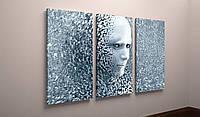 Модульная фотокартина Абстракция Лицо Геометрическая фигура 90х60из 3-х частей