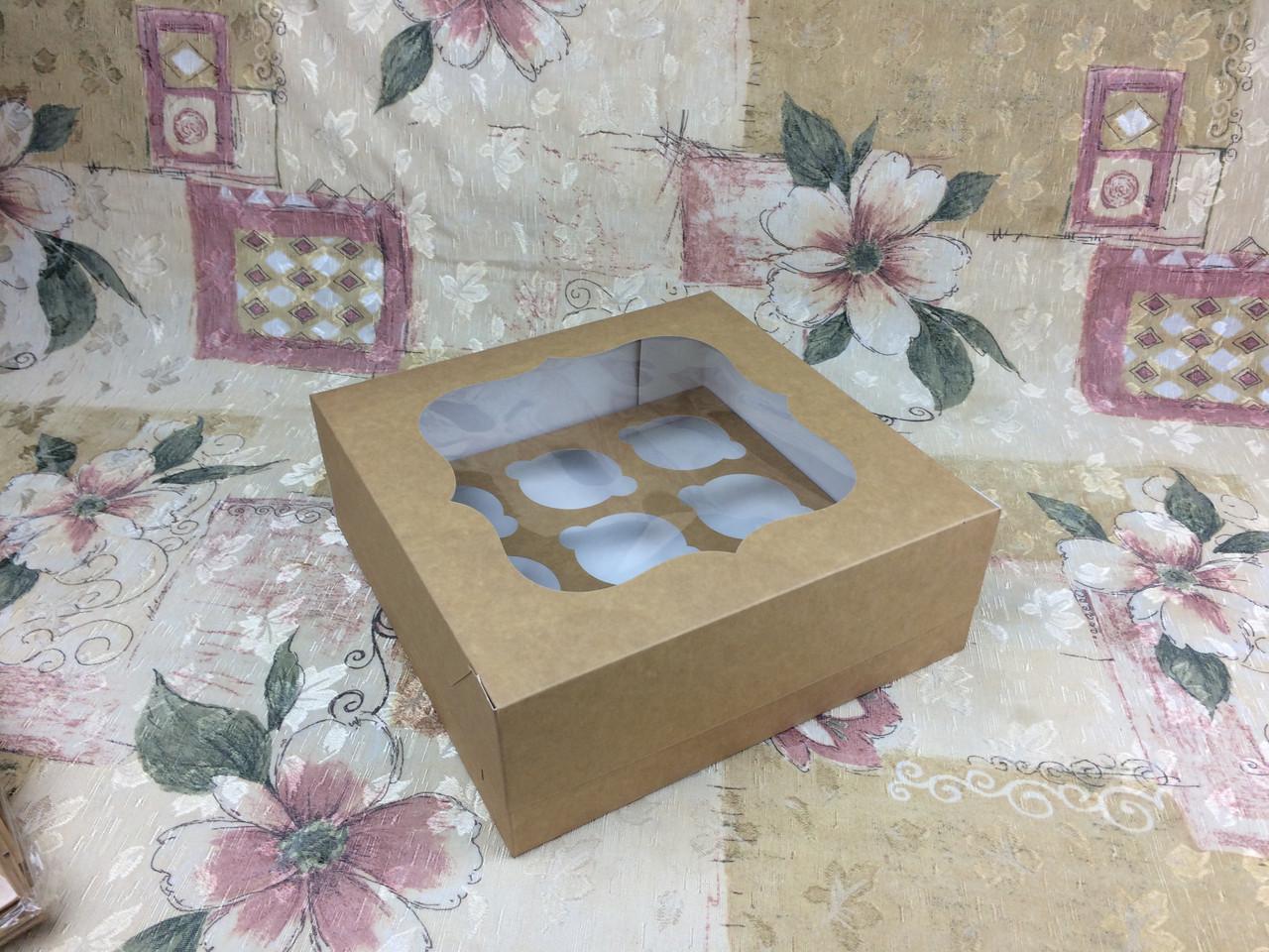 Коробка для 9-ти кексов / 250х250х90 мм / Крафт / окно-обычн