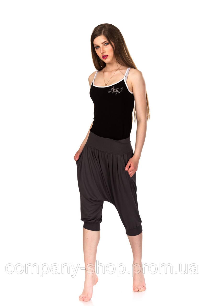 Женские вискозные капри для занятий йогой. Модель КА011_серый.